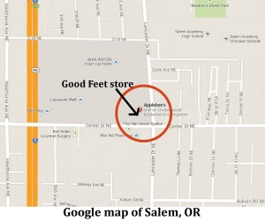 map of Good Feet Salem Store